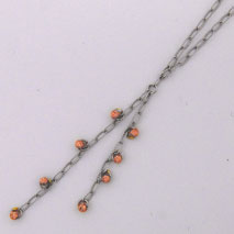 14K White Gold Open Link w/ Rose Gold Disco Balls ' Y ' Chain