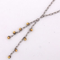 14K White Gold Open Link w/ Yellow Gold Disco Balls ' Y ' Chain