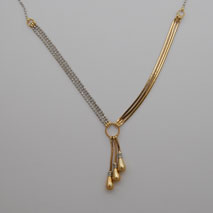 14K Yellow Gold Triple Snake / White Gold Diamond Cut Bead Chain