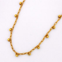 14K Yellow Gold Open Link Chain with Yellow Gold Disco Balls