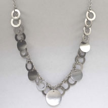 14K White Gold Rolo Chain with Satin Circles