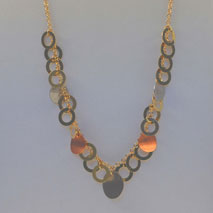 14K Tri-Color Satin Circle Necklace