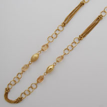 14K Yellow Gold Curb,  Round Link Chain with Stones