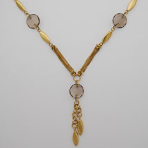 14K Yellow Gold ' Y ' Link Chain with Smoky Quartz