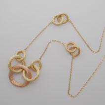 14K Yellow Gold Link Necklace w/ Yellow Gold & Rose Gold Satin Circles