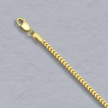 14K Yellow Gold Square Franco 1.8mm Anklet
