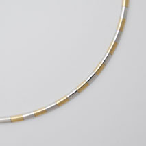 14K Yellow Gold / White Gold Domed Omega Chain 3.0mm