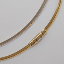 14K Yellow and White Gold Reversible Omega Chain