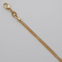 14K Yellow Gold Cable 3 Strand Chain, Natural