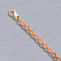 24-Inch 14K Rose Gold Heavy Rolo 4.0mm Chain