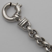 14K White Gold Hollow Rolo Chain 6.4mm