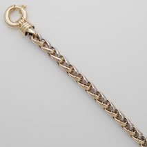 14K Yellow Gold / White Gold Hollow Wheat 6.0mm Chain