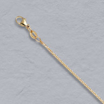 14K Yellow Gold Natural Diamond Cut Square Wheat Chain 1.0mm