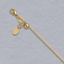 14K Yellow Gold Adjustable Diamond Cut Square Wheat Chain, 0.8mm