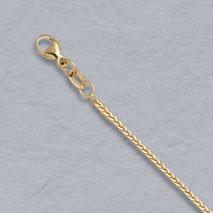 14K Yellow Gold Natural Diamond Cut Square Wheat 1.0mm