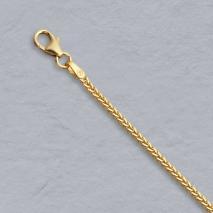 14K Yellow Gold Diamond Cut Square Wheat Chain 1.5mm