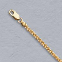 14K Yellow Gold Natural Round Wheat 2.4mm Chain