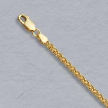 14K Yellow Gold Round Wheat 2.4mm Chain