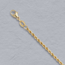 18K Yellow Gold Laser Rope Chain 2.1mm