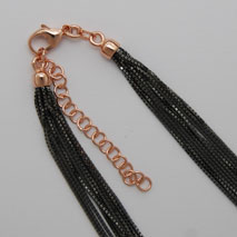 18K Rose Gold 10 Strand Octava 0.7mm, Black Rhodium Chain, 2' Extender
