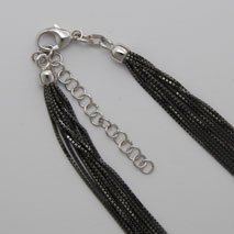 18K White Gold 10 Strand Octava 0.7mm, Black Rhodium Chain, 2' Extender