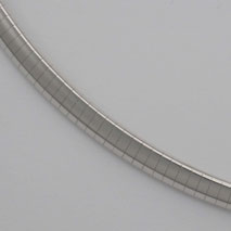 18K White Gold Domed Omega, 5.0mm Chain