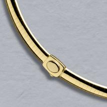 18K Yellow Gold Domed Omega 6.0mm, Button Clasp