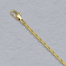 18K Yellow Gold Handmade Textured Rd Cable 2.8mm Chain