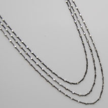 Sterling Silver and Black Rhodium 3 Strand Graduated Necklace