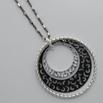 Sterling Silver Black Rhodium Filigree Cut Pendant (Chain Included)