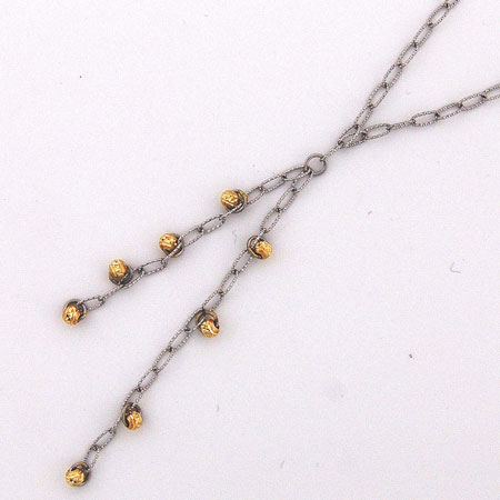 17-Inch 14K White Gold Open Link w/ Yellow Gold Disco Balls ' Y ' Chain