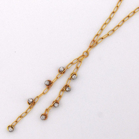17-Inch 14K Yellow Gold Open Links w/ White Gold Disco Balls ' Y ' Chain