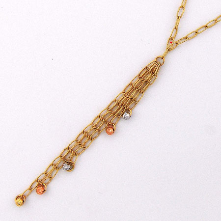 17-Inch 14K Yellow Gold Open Links with Tri-Color Disco Balls ' Y '