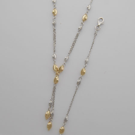 7-Inch 14K Yellow Gold Link w/ White Gold Moon Cut Oval Beads , 2' Extender on Necklace