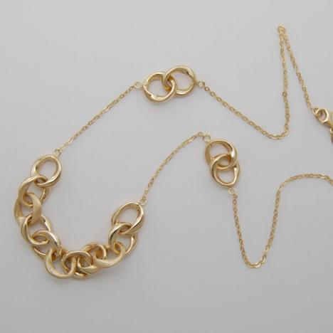 18-Inch 14K Yellow Gold Link Necklace with Multi-Rings