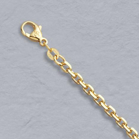 7.25-Inch 14K Yellow Gold Diamond Cut Cable Chain 3.00mm