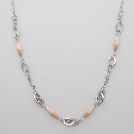 17-Inch 14K White Gold Link Chain with Rose Gold Pods