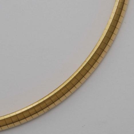 7-Inch 14K Yellow Gold Domed Omega Chain 5.0mm