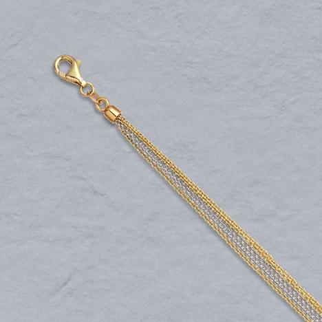 16-Inch 14K Yellow / White Gold Cable Chain 6 Strand (3 yellow / 3 white)