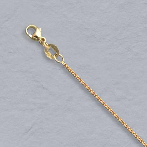 16-Inch 14K Yellow Gold Natural Round Wheat 0.9mm Chain
