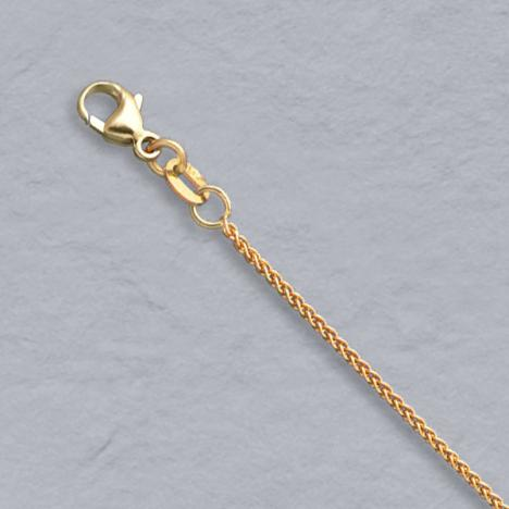 16-Inch 14K Yellow Gold Natural Round Wheat 1.1mm Chain