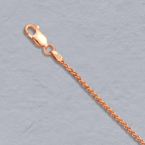 16-Inch 14K Rose Gold Round Wheat 1.5mm Chain