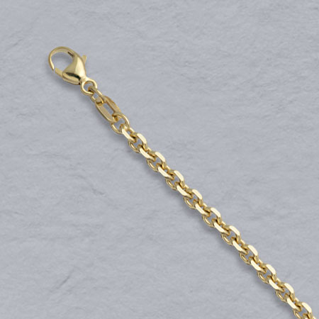 18-Inch 18K Yellow Gold Diamond Cut Cable 2.8mm Chain