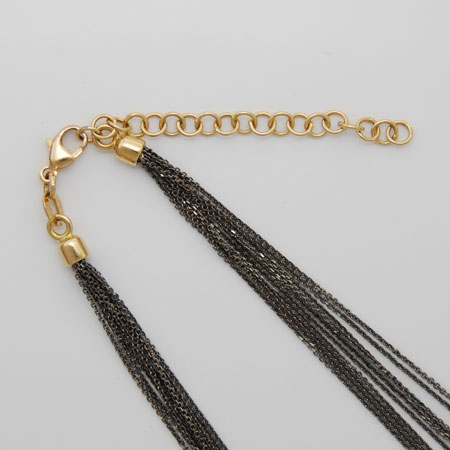 16-Inch 18K Yellow Gold Black Rhodium Chain 10 Strand