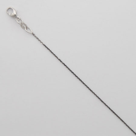 16-Inch 18K Black Rhodium Diamond Cut Cable Chain 0.8mm, White Gold Clasp