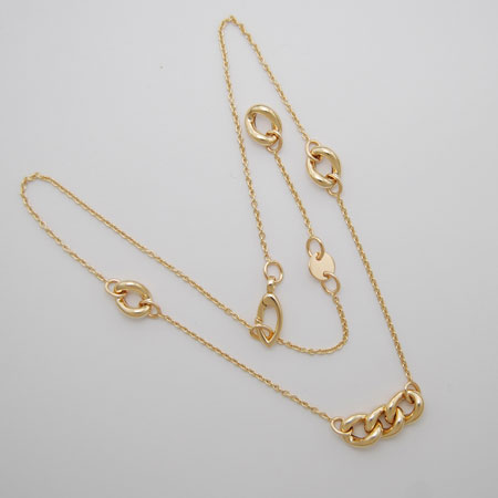 18+2-Inch 18K Yellow Gold Cable Link Chain with Puff Link
