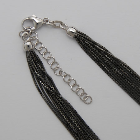 18-Inch 18K White Gold 10 Strand Octava 0.7mm, Black Rhodium Chain, 2' Extender