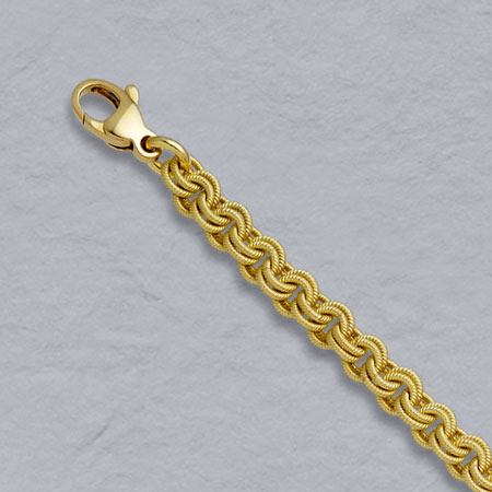 7-Inch 18K Yellow Gold Handmade Textured Twin Cable 4.1mm Chain