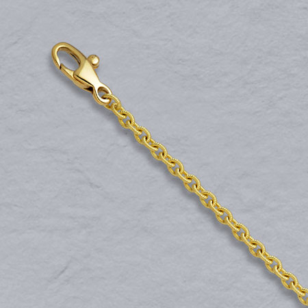 7-Inch 18K Yellow Gold Handmade Textured Round Cable 2.4mm Chain