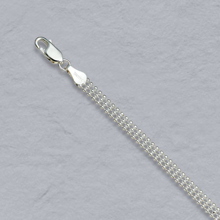 16-Inch Sterling Silver Triple Bead Chain 4.5mm